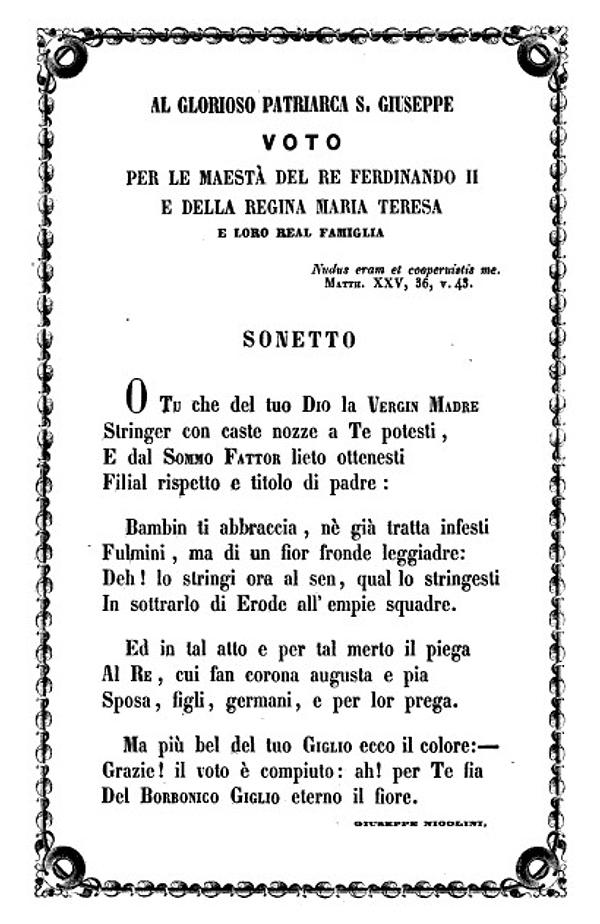 Sonetto e Voto per i Reali e la Regia Famiglia delle Due Sicilie di Giuseppe Nicolini 1855